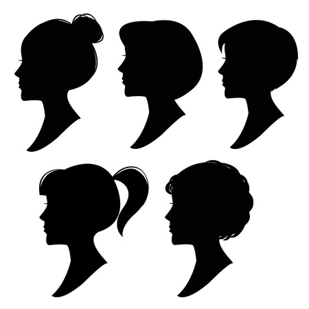 Vector silhouettes of women hairstyles 1