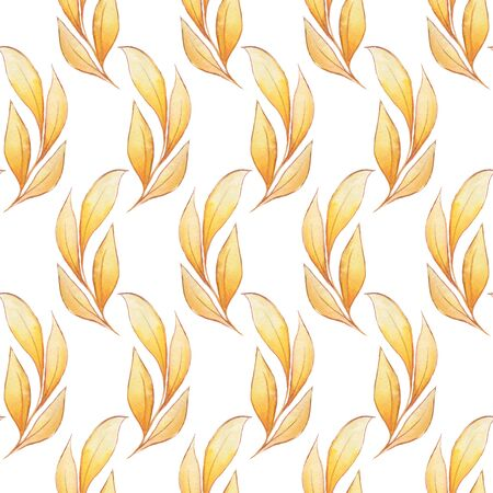 raster artistic: Pattern with leaves. Seamless watercolor background for design Stock Photo