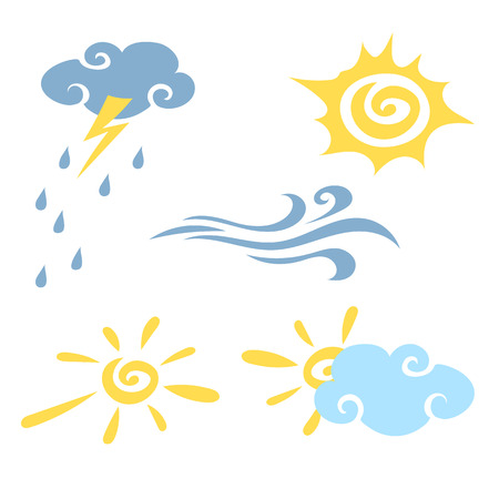 scorching: Weather. Set of simple icons of different types of weather. Vector Illustration