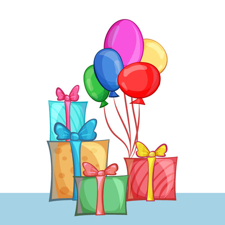 surprise gift: Set of gift boxes and balloons. Vector cartoon illustration