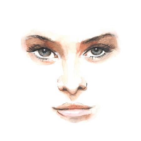 Watercolor beauty face 1. Vector illustration Иллюстрация