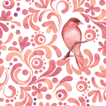 Bird on branch 3. Watercolor pattern. Seamless background. Vector