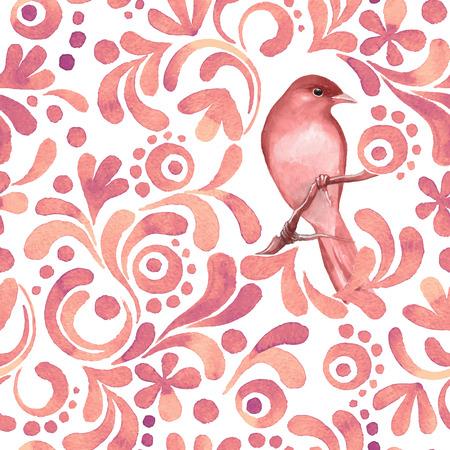 Vogel op tak 3. Aquarel patroon. Naadloze achtergrond. Vector
