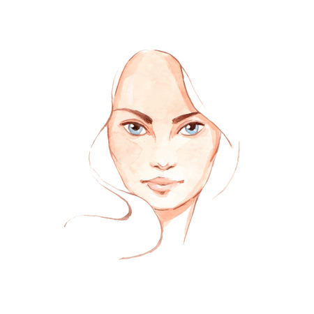 skin care woman: Beautiful woman face 3. Hand-drawn illustration. Watercolor in vector Illustration