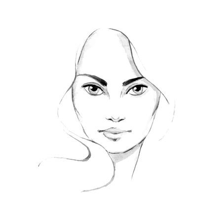 eye makeup: Beautiful woman face 2. Hand-drawn illustration. Watercolor in vector