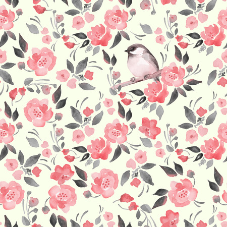 cute flowers: Watercolor floral background with a cut bird. Seamless vector pattern 13 Illustration