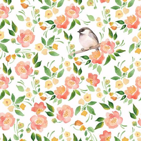 Fondo de la acuarela floral con un pájaro corte. Sin fisuras vector patrón 11