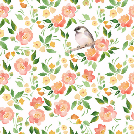 spring season: Watercolor floral background with a cut bird. Seamless vector pattern 11