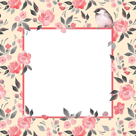 1 place: Watercolor floral background with a cut bird. Template with place for text 1