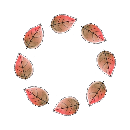 round frame: Just leaves. Round frame. Watercolor background 3 Stock Photo