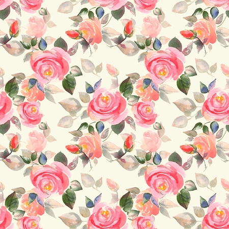 rose: Background with beautiful roses. Seamless pattern with hand-drawn flowers 3 Stock Photo