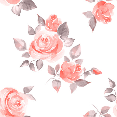 Background with beautiful roses. Seamless pattern vector 11 Illustration