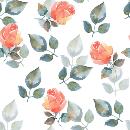 Background with beautiful roses. Seamless pattern with hand-drawn flowers 15 Stock Photo