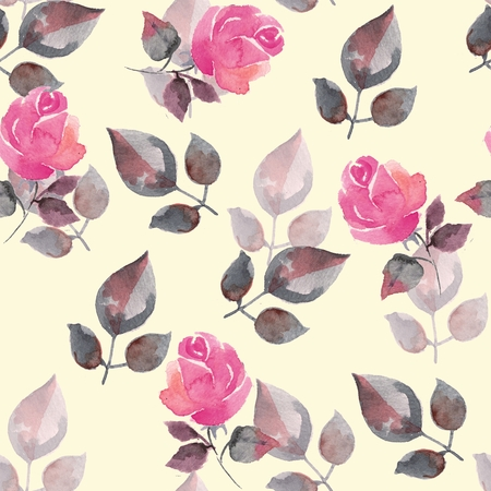 floral decoration: Background with beautiful roses. Seamless pattern with hand-drawn flowers 16