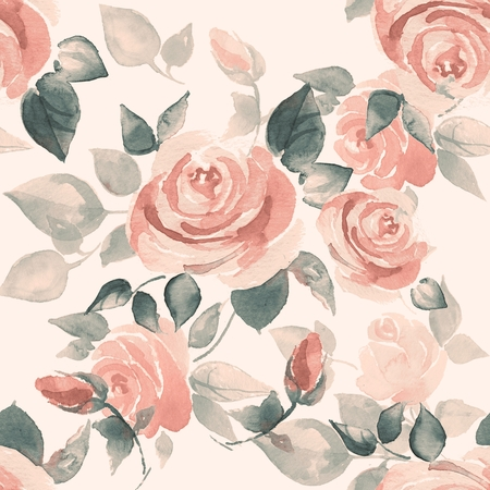 Background with beautiful roses. Seamless pattern with hand-drawn flowers on February 1