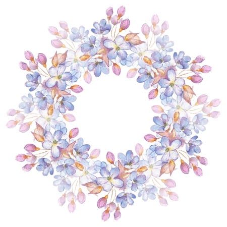 circle flower: Branch with delicate flowers. Watercolor wreath. Round frame for cards