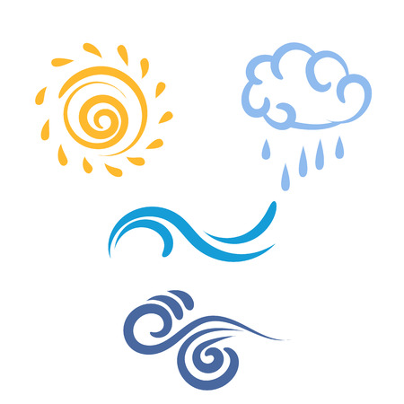 Icono de sol, lluvia, nubes, viento, olas, símbolo de tiempo, ilustración vectorial Vectores
