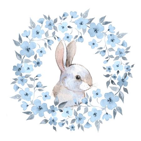 화이트 토끼 2 토끼와 꽃 화환. 벡터 수채화 그림 일러스트