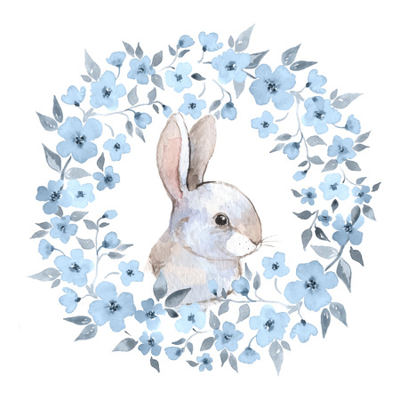 White rabbit 2. Rabbit and floral wreath. Watercolor illustration in vector Vettoriali
