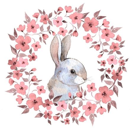 White rabbit. Rabbit and floral wreath. Watercolor illustration 2 Фото со стока