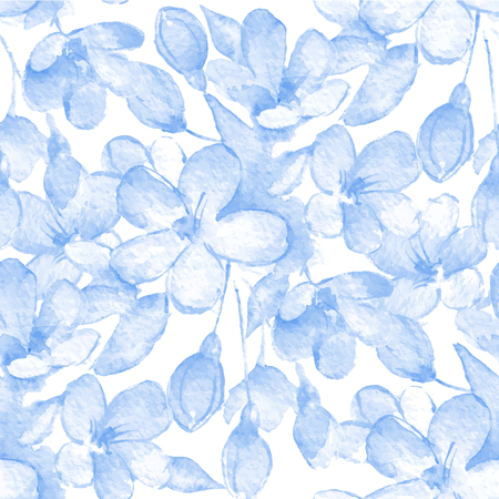 flower ornament: Seamless pattern with delicate flowers. Watercolor background 5. Vector