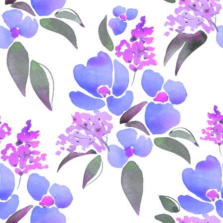 Beautiful floral pattern. Hand drawn watercolor elements 3 Иллюстрация