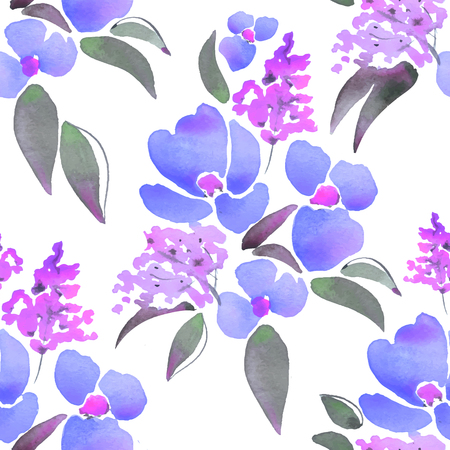 Beautiful floral pattern. Hand drawn watercolor elements 3 Vettoriali