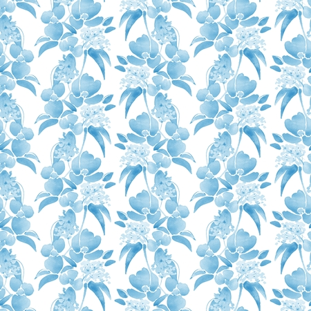 32: Watercolor illustration with leaves and flowers. Seamless pattern 32 Stock Photo