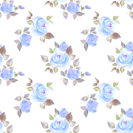 watercolour background: Background with beautiful roses. Vector. Seamless pattern with hand-drawn flowers