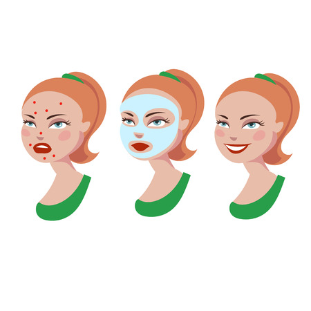woman washing hair: Cartoon girl with skin problem. Cosmetic product against acne Illustration