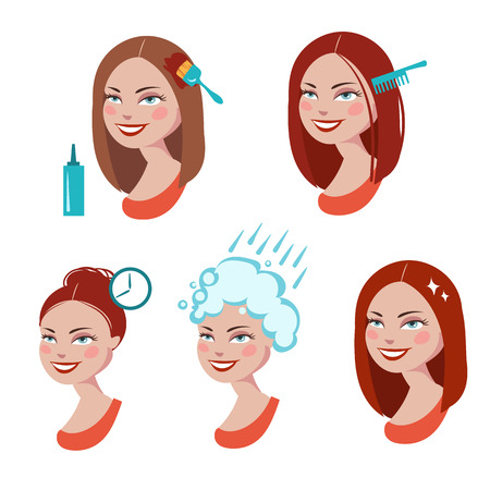 dyeing: hair dyeing process Illustration
