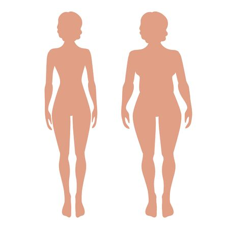 shape silhouette: Slender and full female figures. Vector silhuette.