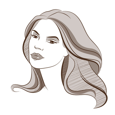 Beautiful female face 4. Vector colored illustration Illustration