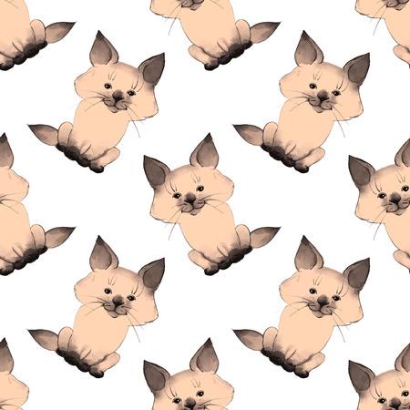 pink pussy: Kitten. Cute vector pattern 3.
