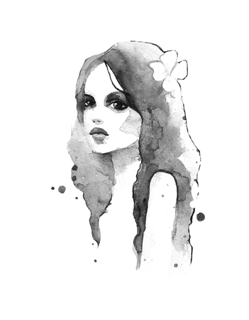 nostrils: Romantic girl. Watercolor painting. Black and white Stock Photo