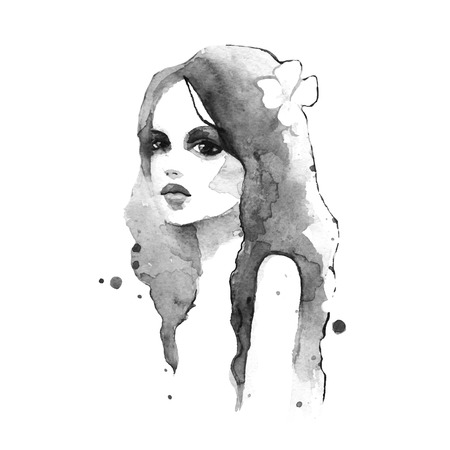 female portrait: Romantic girl. Watercolor painting. Black and white. Vector Illustration