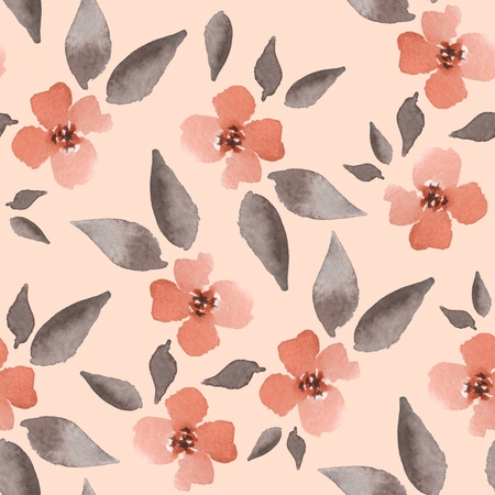 01: Blossom. Watercolor floral background. Seamless pattern 01 Stock Photo