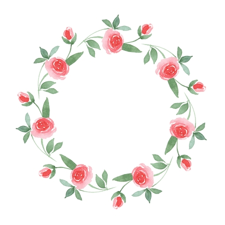 01: Branch of Roses. Watercolor floral round frame 01 Stock Photo