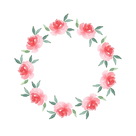 03: Branch of Roses. Watercolor floral round frame 03 Stock Photo