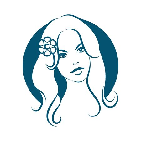 nude girl young: Beauty face 2. Girl with long hair and flower. Blue color. Vector illustration