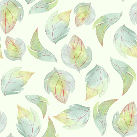 Background with watercolor leaves 1. Vector Illustration