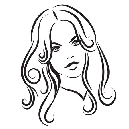 single woman: 2. Cara de la belleza de la muchacha con el pelo largo