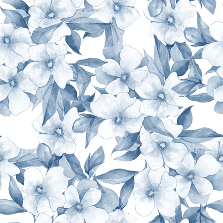 flower ornament: Bouquet of white flowers. Watercolor floral background. Seamless pattern 12