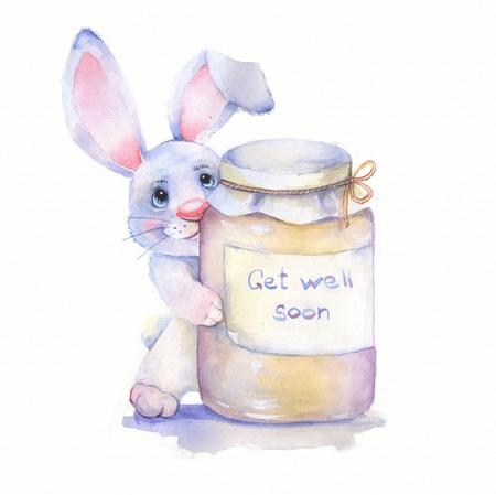 get well soon: Get well soon. Watercolor card 1