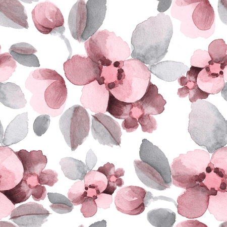 Summer flowers. Watercolor seamless floral pattern 8