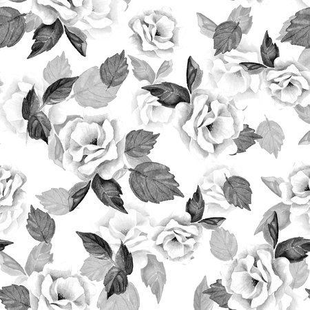 34: Beautiful hand-drawn flowers. Floral seamless pattern 34