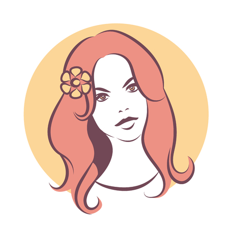 face skin: Beauty face 2. Girl with long hair and flower. Colored vector illustration