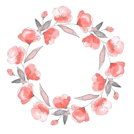 flower petal: Floral sketch. Round frame 2