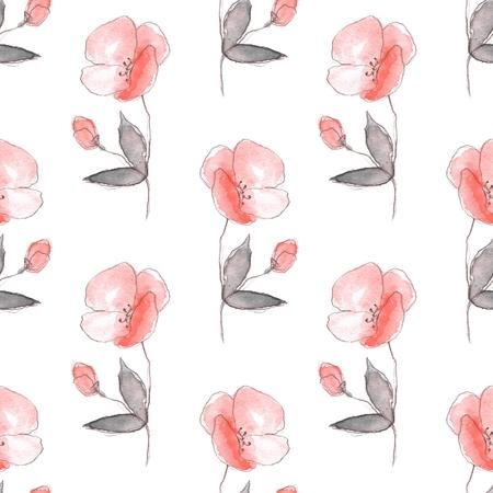 Floral sketch. Seamless pattern 1