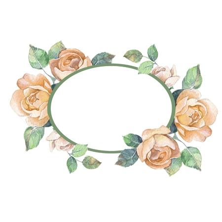romantic: Beautiful floral frame. Watercolor illustration